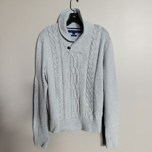 Tommy Hilfiger Mens cableknit shawl collar sweater
